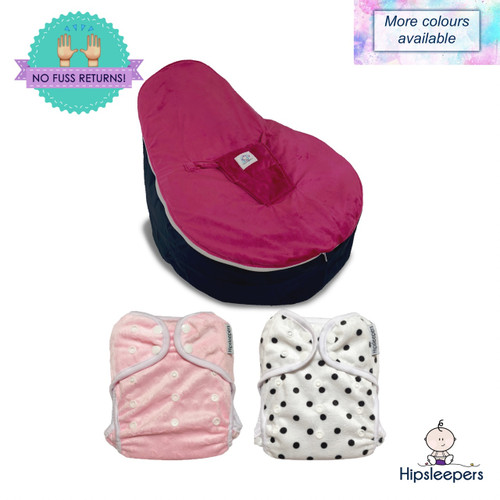 Our Comfy Bum Package includes a Supportive Bean Seat and 2 Leak Protection Nappy Covers.