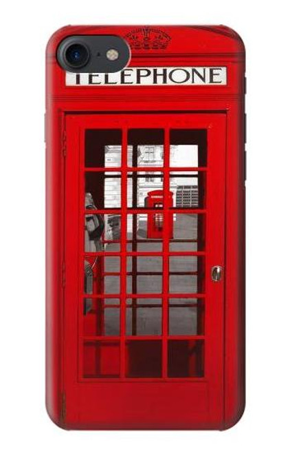 W0058 British Red Telephone Box Funda Carcasa Case y Caso Del Tirón Funda para iPhone 7, iPhone 8, iPhone SE (2020)