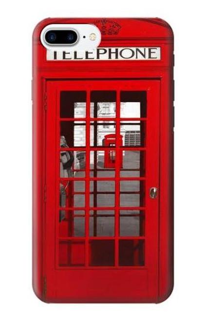 W0058 British Red Telephone Box Funda Carcasa Case y Caso Del Tirón Funda para iPhone 7 Plus, iPhone 8 Plus
