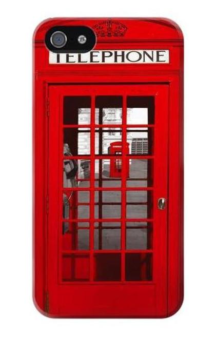W0058 British Red Telephone Box Funda Carcasa Case y Caso Del Tirón Funda para iPhone 5 5S SE