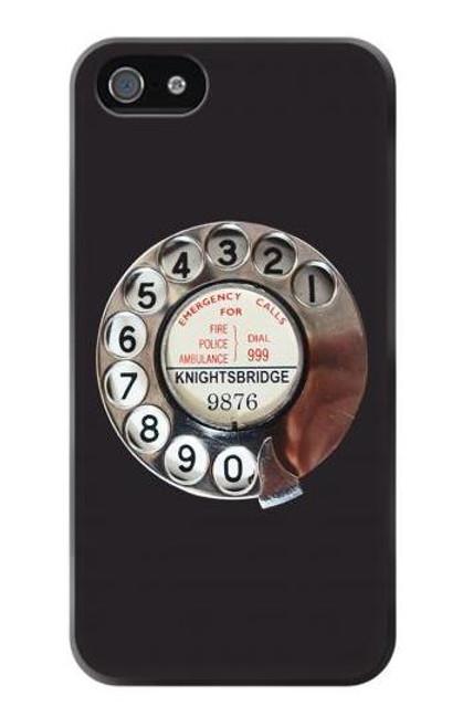 W0059 Retro Rotary Phone Dial On Funda Carcasa Case y Caso Del Tirón Funda para iPhone 5 5S SE