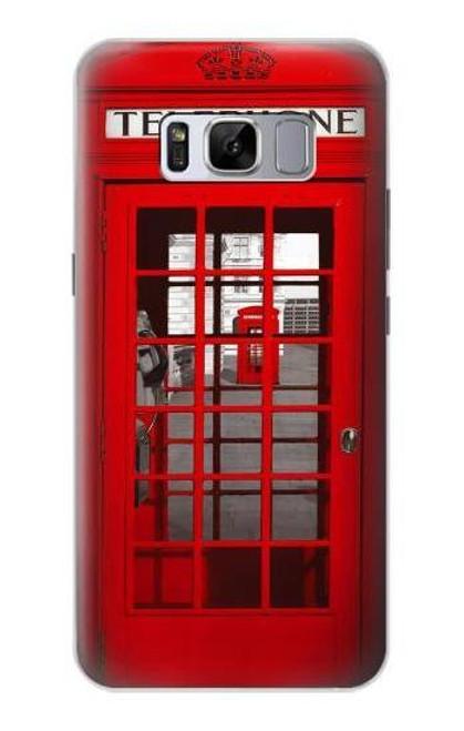 W0058 British Red Telephone Box Funda Carcasa Case y Caso Del Tirón Funda para Samsung Galaxy S8