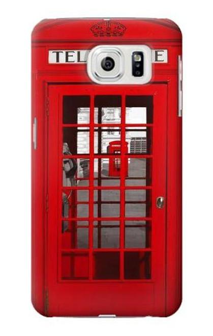 W0058 British Red Telephone Box Funda Carcasa Case y Caso Del Tirón Funda para Samsung Galaxy S7 Edge
