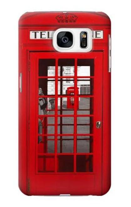 W0058 British Red Telephone Box Funda Carcasa Case y Caso Del Tirón Funda para Samsung Galaxy S7
