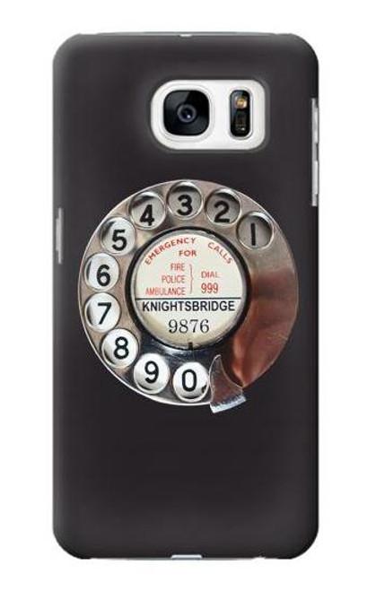 W0059 Retro Rotary Phone Dial On Funda Carcasa Case y Caso Del Tirón Funda para Samsung Galaxy S7