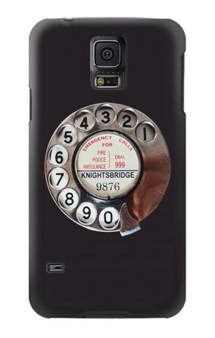 W0059 Retro Rotary Phone Dial On Funda Carcasa Case y Caso Del Tirón Funda para Samsung Galaxy S5