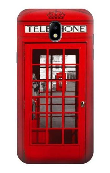 W0058 British Red Telephone Box Funda Carcasa Case y Caso Del Tirón Funda para Samsung Galaxy J5 (2017) EU Version