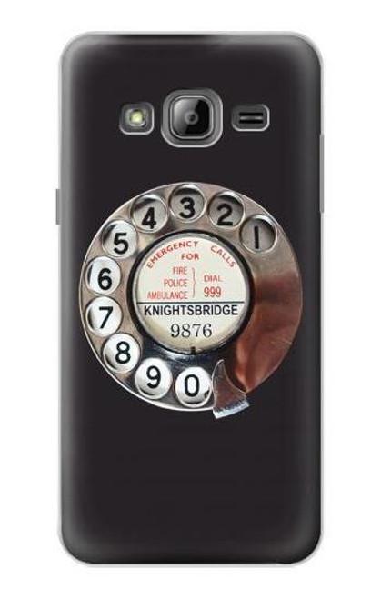 W0059 Retro Rotary Phone Dial On Funda Carcasa Case y Caso Del Tirón Funda para Samsung Galaxy J3 (2016)