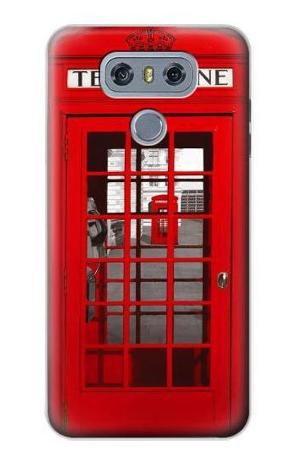 W0058 British Red Telephone Box Funda Carcasa Case y Caso Del Tirón Funda para LG G6