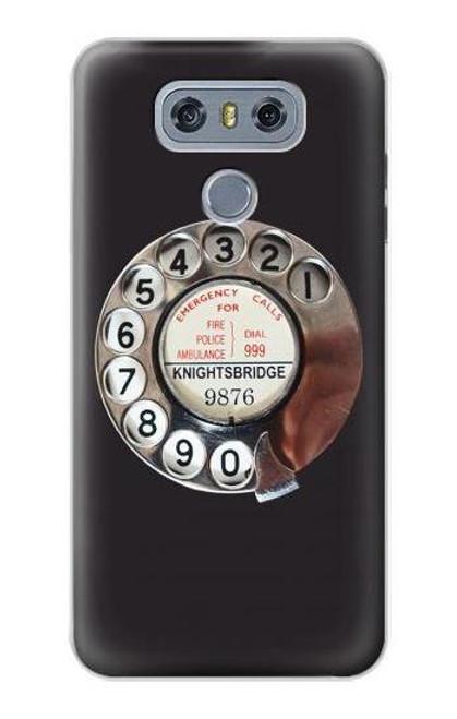 W0059 Retro Rotary Phone Dial On Funda Carcasa Case y Caso Del Tirón Funda para LG G6