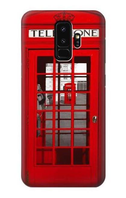W0058 British Red Telephone Box Funda Carcasa Case y Caso Del Tirón Funda para Samsung Galaxy S9 Plus