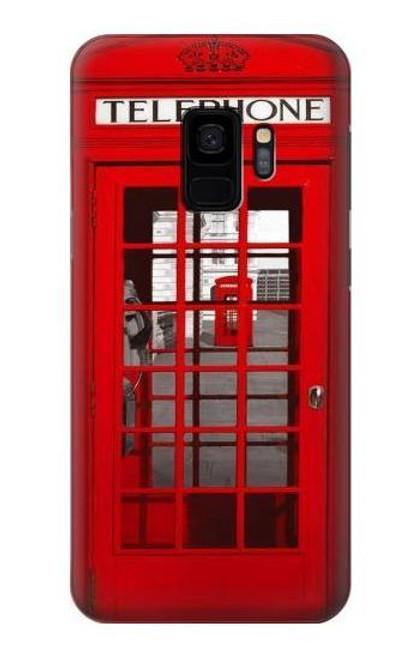 W0058 British Red Telephone Box Funda Carcasa Case y Caso Del Tirón Funda para Samsung Galaxy S9