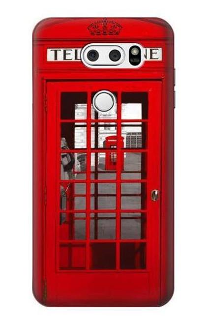W0058 British Red Telephone Box Funda Carcasa Case y Caso Del Tirón Funda para LG V30, LG V30 Plus, LG V30S ThinQ, LG V35, LG V35 ThinQ
