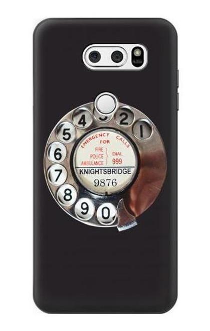W0059 Retro Rotary Phone Dial On Funda Carcasa Case y Caso Del Tirón Funda para LG V30, LG V30 Plus, LG V30S ThinQ, LG V35, LG V35 ThinQ