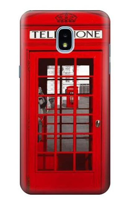W0058 British Red Telephone Box Funda Carcasa Case y Caso Del Tirón Funda para Samsung Galaxy J3 (2018), J3 Star, J3 V 3rd Gen, J3 Orbit, J3 Achieve, Express Prime 3, Amp Prime 3