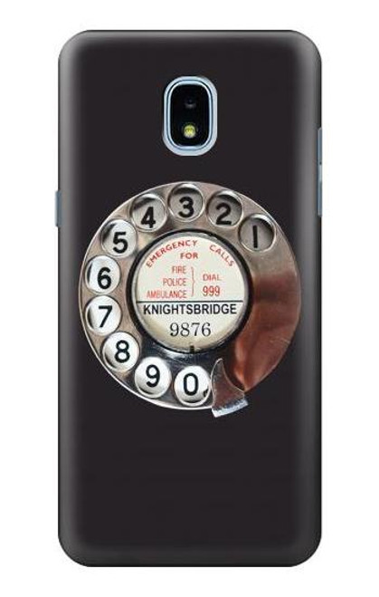 W0059 Retro Rotary Phone Dial On Funda Carcasa Case y Caso Del Tirón Funda para Samsung Galaxy J3 (2018), J3 Star, J3 V 3rd Gen, J3 Orbit, J3 Achieve, Express Prime 3, Amp Prime 3