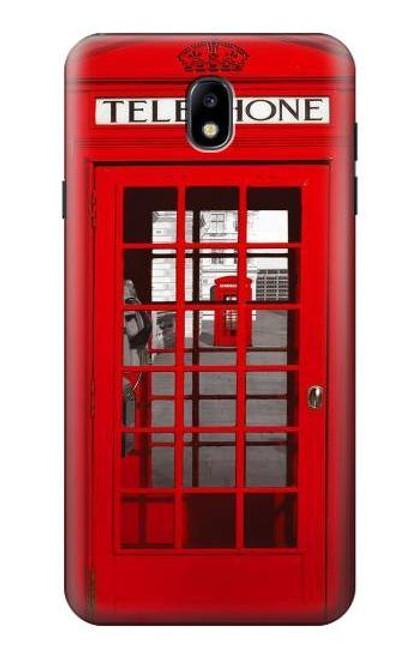 W0058 British Red Telephone Box Funda Carcasa Case y Caso Del Tirón Funda para Samsung Galaxy J7 (2018), J7 Aero, J7 Top, J7 Aura, J7 Crown, J7 Refine, J7 Eon, J7 V 2nd Gen, J7 Star