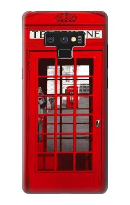 W0058 British Red Telephone Box Funda Carcasa Case y Caso Del Tirón Funda para Note 9 Samsung Galaxy Note9