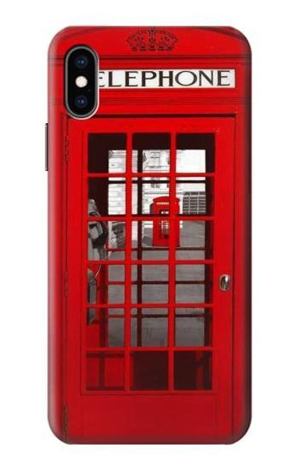 W0058 British Red Telephone Box Funda Carcasa Case y Caso Del Tirón Funda para iPhone X, iPhone XS