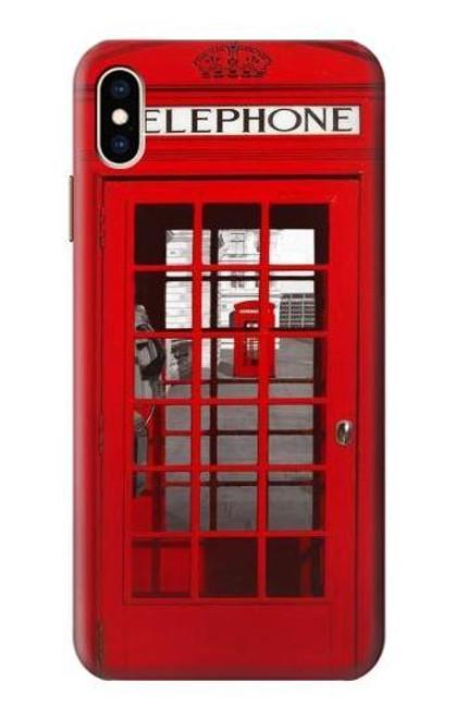 W0058 British Red Telephone Box Funda Carcasa Case y Caso Del Tirón Funda para iPhone XS Max