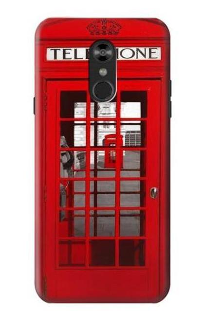 W0058 British Red Telephone Box Funda Carcasa Case y Caso Del Tirón Funda para LG Q Stylo 4, LG Q Stylus