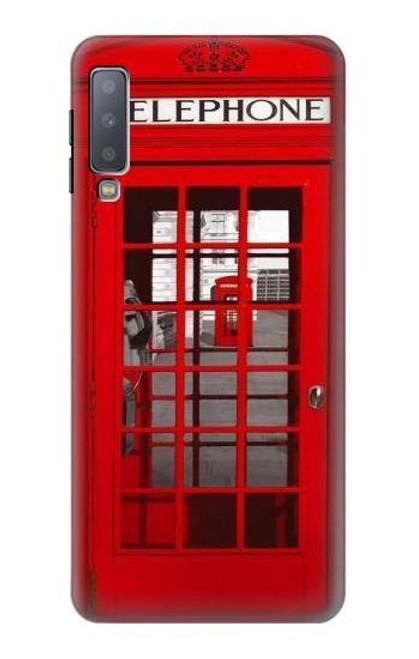 W0058 British Red Telephone Box Funda Carcasa Case y Caso Del Tirón Funda para Samsung Galaxy A7 (2018)