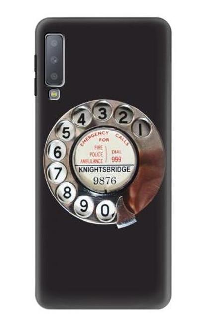 W0059 Retro Rotary Phone Dial On Funda Carcasa Case y Caso Del Tirón Funda para Samsung Galaxy A7 (2018)
