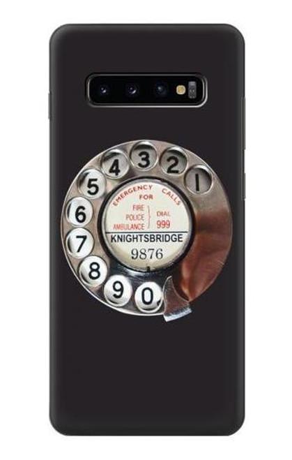 W0059 Retro Rotary Phone Dial On Funda Carcasa Case y Caso Del Tirón Funda para Samsung Galaxy S10 Plus