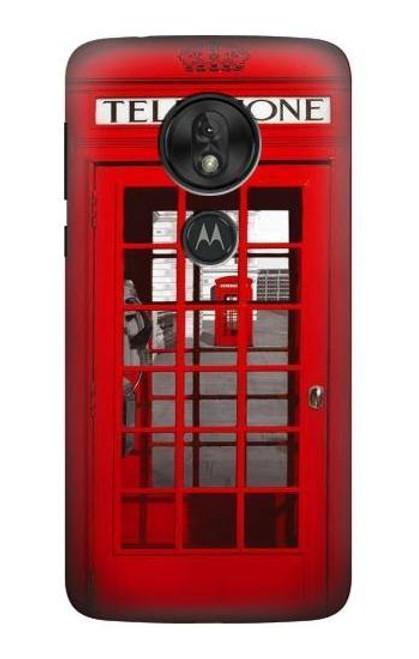 W0058 British Red Telephone Box Funda Carcasa Case y Caso Del Tirón Funda para Motorola Moto G7 Power