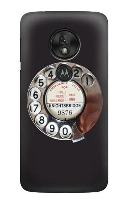 W0059 Retro Rotary Phone Dial On Funda Carcasa Case y Caso Del Tirón Funda para Motorola Moto G7 Power