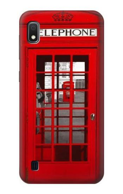 W0058 British Red Telephone Box Funda Carcasa Case y Caso Del Tirón Funda para Samsung Galaxy A10