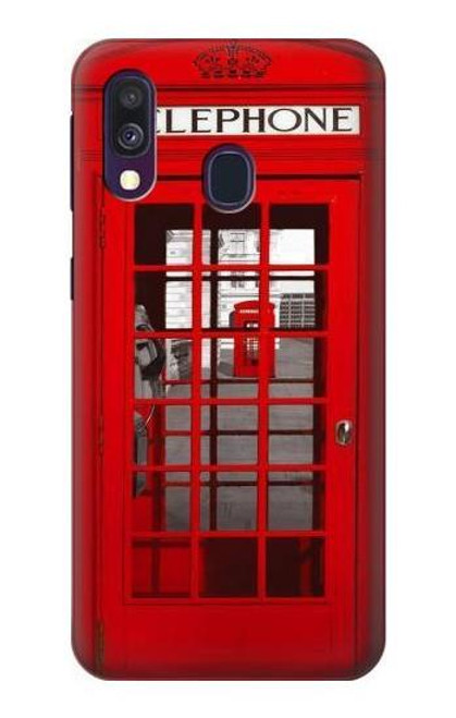 W0058 British Red Telephone Box Funda Carcasa Case y Caso Del Tirón Funda para Samsung Galaxy A40