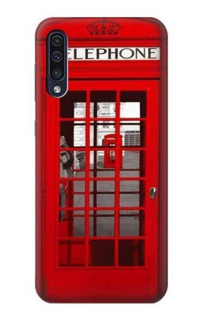 W0058 British Red Telephone Box Funda Carcasa Case y Caso Del Tirón Funda para Samsung Galaxy A50