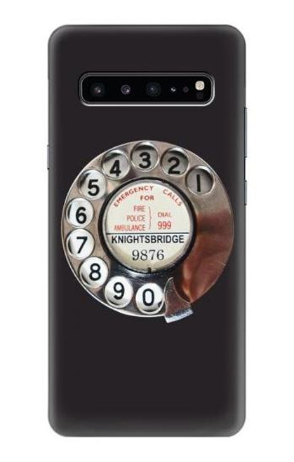 W0059 Retro Rotary Phone Dial On Funda Carcasa Case y Caso Del Tirón Funda para Samsung Galaxy S10 5G