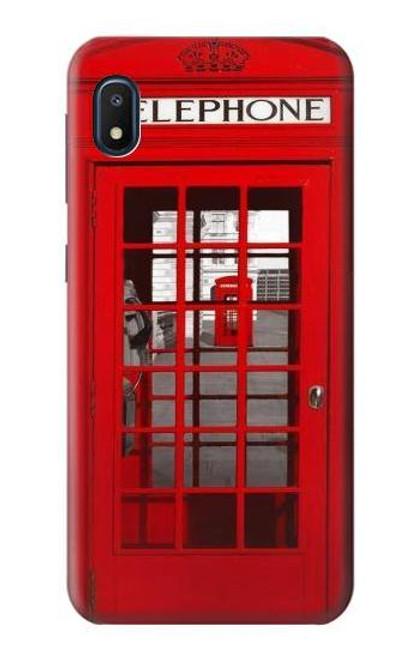 W0058 British Red Telephone Box Funda Carcasa Case y Caso Del Tirón Funda para Samsung Galaxy A10e