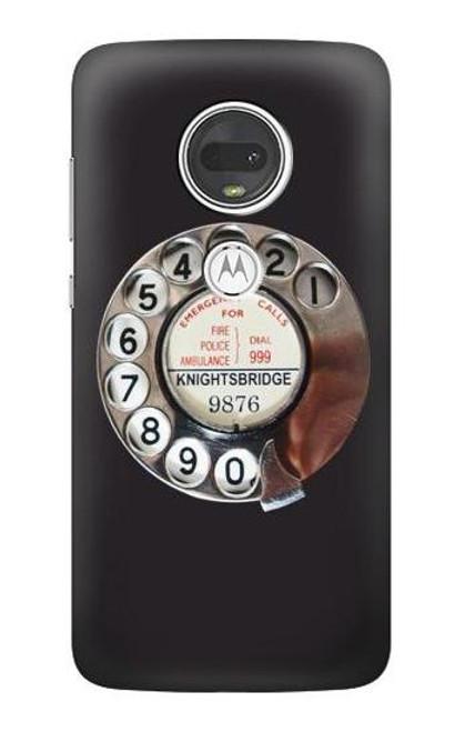 W0059 Retro Rotary Phone Dial On Funda Carcasa Case y Caso Del Tirón Funda para Motorola Moto G7, Moto G7 Plus