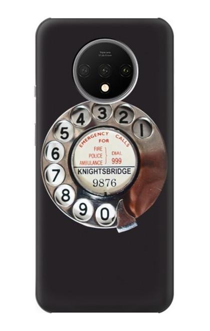 W0059 Retro Rotary Phone Dial On Funda Carcasa Case y Caso Del Tirón Funda para OnePlus 7T