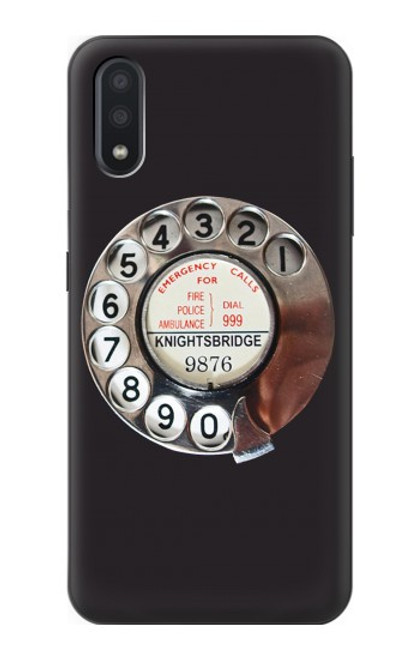 W0059 Retro Rotary Phone Dial On Funda Carcasa Case y Caso Del Tirón Funda para Samsung Galaxy A01
