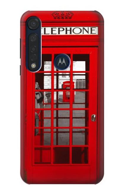 W0058 British Red Telephone Box Funda Carcasa Case y Caso Del Tirón Funda para Motorola Moto G8 Plus