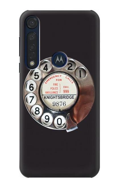 W0059 Retro Rotary Phone Dial On Funda Carcasa Case y Caso Del Tirón Funda para Motorola Moto G8 Plus
