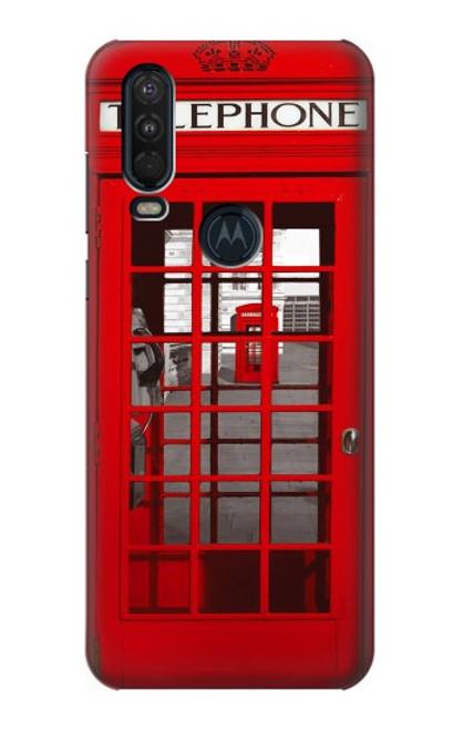 W0058 British Red Telephone Box Funda Carcasa Case y Caso Del Tirón Funda para Motorola One Action (Moto P40 Power)