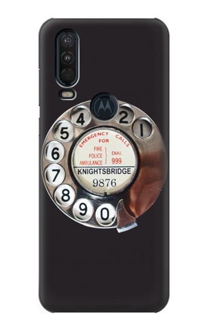 W0059 Retro Rotary Phone Dial On Funda Carcasa Case y Caso Del Tirón Funda para Motorola One Action (Moto P40 Power)
