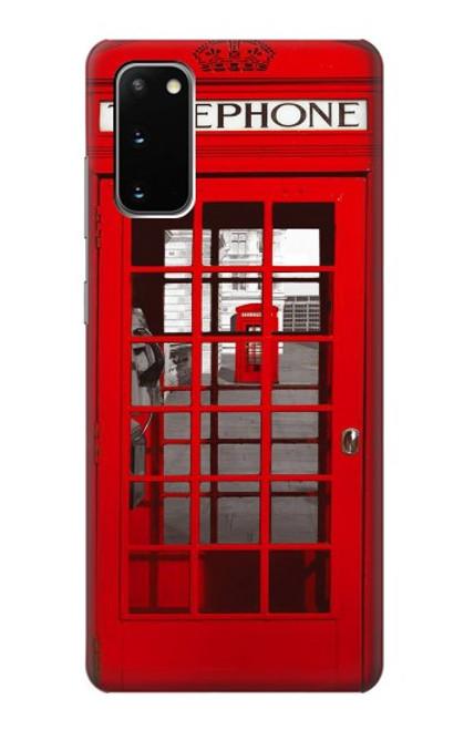 W0058 British Red Telephone Box Funda Carcasa Case y Caso Del Tirón Funda para Samsung Galaxy S20