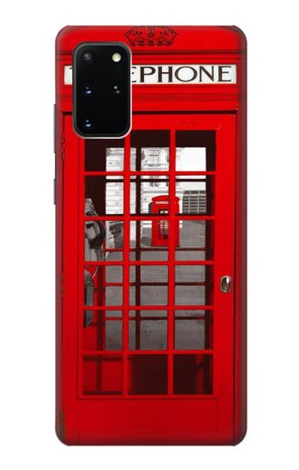 W0058 British Red Telephone Box Funda Carcasa Case y Caso Del Tirón Funda para Samsung Galaxy S20 Plus, Galaxy S20+