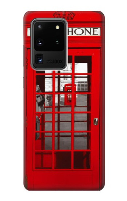 W0058 British Red Telephone Box Funda Carcasa Case y Caso Del Tirón Funda para Samsung Galaxy S20 Ultra