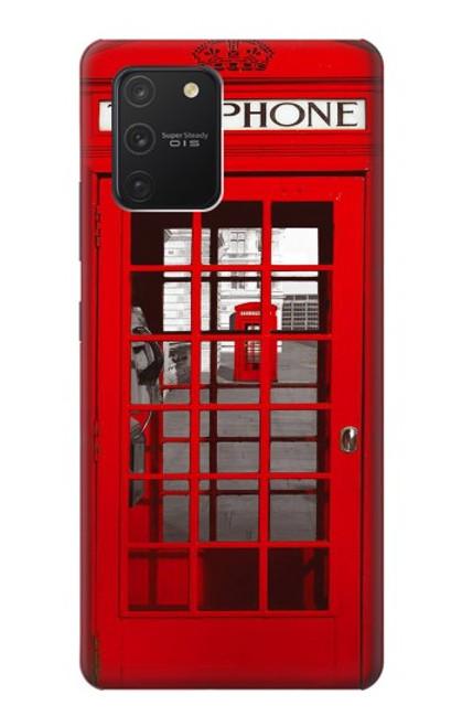 W0058 British Red Telephone Box Funda Carcasa Case y Caso Del Tirón Funda para Samsung Galaxy S10 Lite