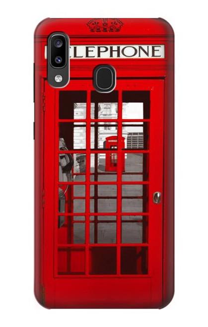 W0058 British Red Telephone Box Funda Carcasa Case y Caso Del Tirón Funda para Samsung Galaxy A20, Galaxy A30