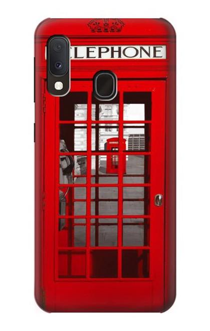 W0058 British Red Telephone Box Funda Carcasa Case y Caso Del Tirón Funda para Samsung Galaxy A20e
