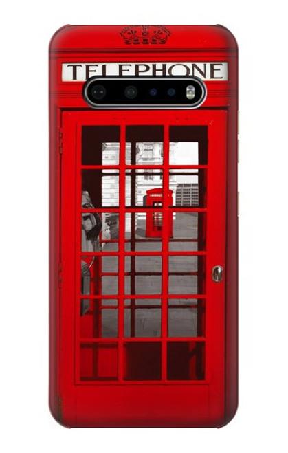 W0058 British Red Telephone Box Funda Carcasa Case y Caso Del Tirón Funda para LG V60 ThinQ 5G