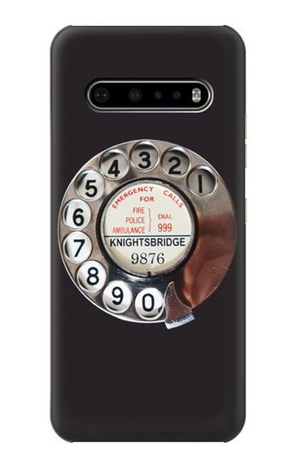 W0059 Retro Rotary Phone Dial On Funda Carcasa Case y Caso Del Tirón Funda para LG V60 ThinQ 5G